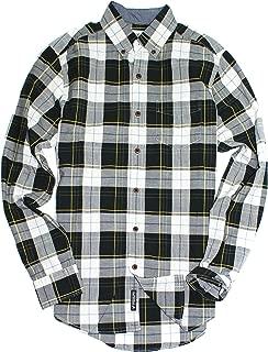American Eagle Men's Seriously Soft Button Down Print Shirt (X-Small, 001 Black Plaid)