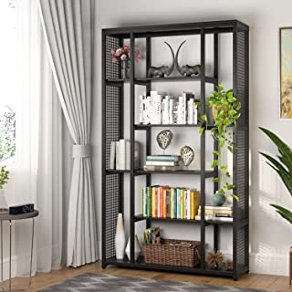 Tribesigns 6-Staggered Shelf Bookshelf with Metal Mesh, Industrial Etagere Bookcase Book Shelves, Display Shelf Storage Organizer for Home Office (Black)