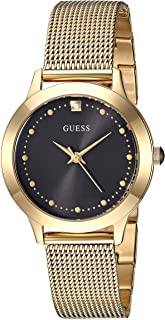 GUES Gold-Tone Stainless Steel Bracelet Watch with Black Genuine Diamond Dial. Color: Gold-Tone (Model: U1197L5)