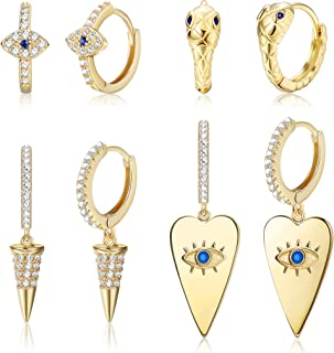 Udalyn 4 pares de pendientes de aro con forma de corazón de serpiente, de oro y plata, con forma de triángulo geométrico, ...