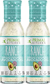Primal Kitchen Avocado Oil Ranch Dressing & Marinade, Whole 30 Approved, Two Pack (8 oz)