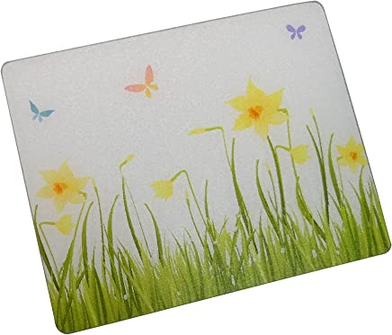 "Vance 81512ASM-B Vance 15 x 12"" Spring Butterflies Surface Saver Tempered Glass Cutting Board"