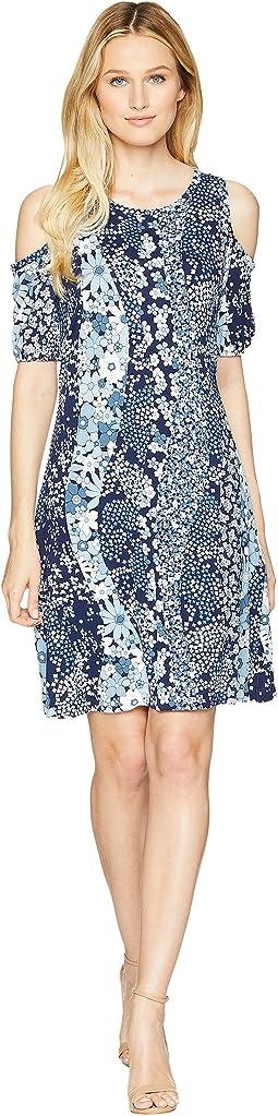 Scatter Blooms Print Tier Midi Dress
