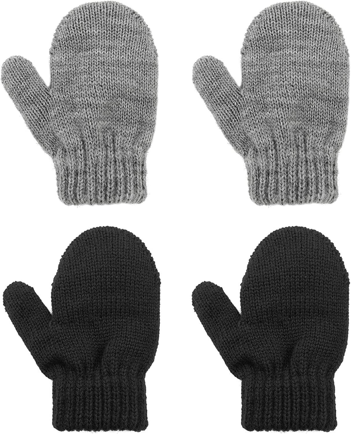 Kids Toddler Mittens Soft Knitted Gloves Winter Warm Stretch Mitten for Baby Boys and Girls Black&Gray
