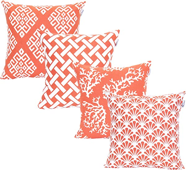 ACCENTHOME Square Printed Cotton Cushion Cover Throw Pillow Case Slipover Pillowslip For Home Sofa Couch Chair Back Seat 4pc Pack 18x18 In Coral Color