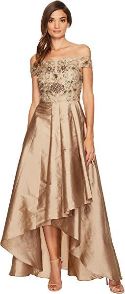 Adrianna Papell - Beaded Off the Shoulder Gown with High-Low Taffetta Skirt
