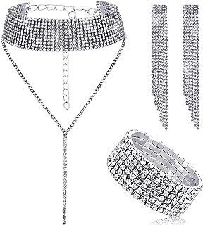 هايكيرر المرأة الكريستال مجوهرات مجموعة الزفاف حجر الراين قلادة سوار استرخى أقراط