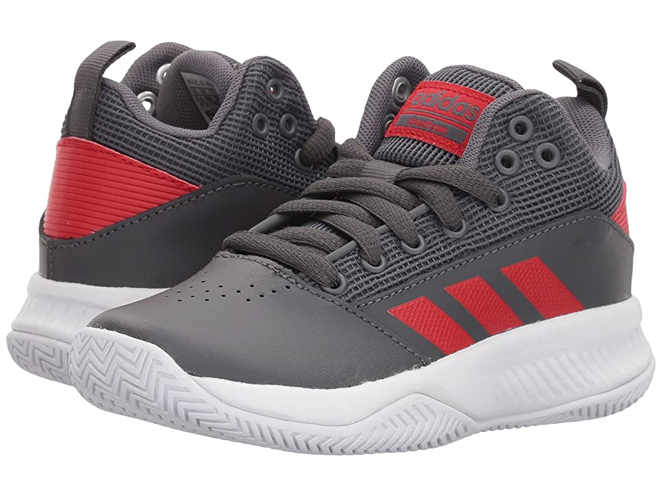 adidas Kids Ilation Mid Basketball (Little Kid/Big Kid) (Grey/Scarlet/White) Boys Shoes