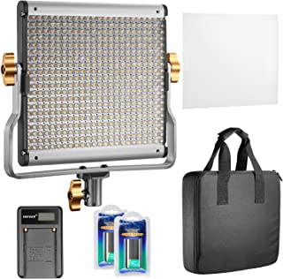 Neewer Dimmable Bi-Color 480 LED Video Light CRI 96+ 3200-5600K with U Bracket,2 Pieces Rechargeable Li-ion Battery and US...