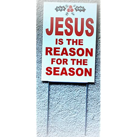 """5 JESUS IS THE REASON FOR THE SEASON Plastic Coroplast SIGNS 8/""""x12/"""" w//Grommets"""