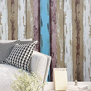"""Wood Wallpaper Peel and Stick Wallpaper Wood Wall Paper Self Adhesive Wallpaper Removable Wallpaper Stick and Peel Wood Pattern Vinyl Film Faux Wallpaper Roll Colorful 17.7""""x78.7"""""""