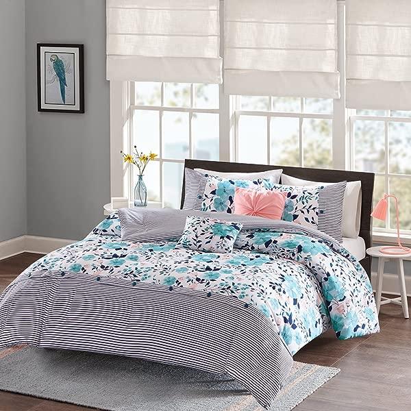 智能设计 Delle 被子套装全大号蓝色花卉条纹 5 件套超柔软超细纤维青少年床上用品女孩卧室