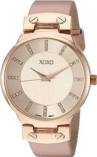 ساعة اكس او اكس او للنساء انالوج بعقارب ستانلس ستيل كوارتز مع حزام جلد- زهري، 21 (XO3466)