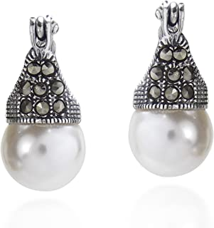 Vintage Flair Marcasite Style Pyrite and Cultured Freshwater Pearl .925 Sterling Silver 10 mm Earrings
