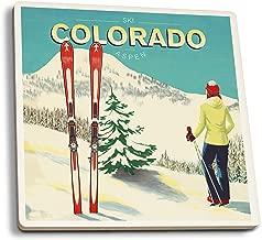 Lantern Press Aspen, Colorado - Woman Skier Mountain View - Ski Aspen (Set of 4 Ceramic Coasters - Cork-Backed, Absorbent)