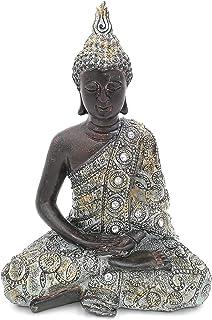 G.W. Figura de Buda meditando Sentado, 24cm en Negro Plata, artículo de decoración para casa & hogar, de Buda Escultura, Zen Garden, Salón o Accesorio Ideal como Regalo, Bella Thai Estatua
