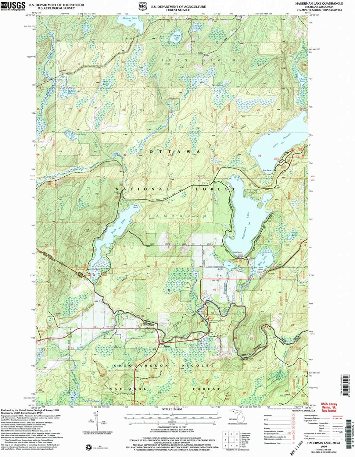 Hagerman Lake MI topo map, 1 24000 Scale, 7.5 X 7.5 Minute, Historical, 1999, Updated 2004, 26.9 x 22 in