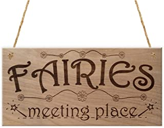 MAIYUAN Fairies Meeting Place Funny Plaque Wooden Hanging Signs for Home Garden Decor Wall Art 10