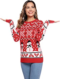 Aibrou Womens Ugly Christmas Sweater Snowman Snowflakes Knitted Pullover Sweaters