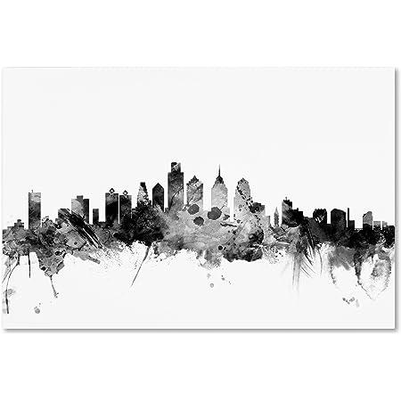Amazon Com Philadelphia Pennsylvania Skyline By Michael Tompsett 22 X 32 Canvas Wall Art Posters Prints