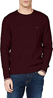 Tommy Hilfiger Men's Organic Cotton Cable Crew Neck Sweatshirt