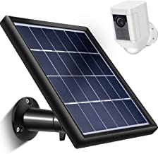Skylety Solar Panel for Ring Spotlight Cam with Security Wall Mount, 3.6 m/ 11.8 ft Cable with Barrel Connector, 5 V/ 3.5 W (Max) Output (Not for Stick Up Cam/Arlo Cam Series) Without CAM (Black)