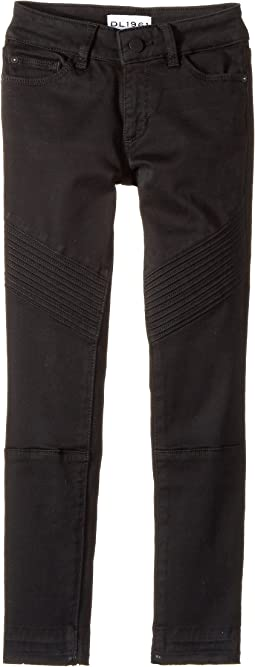 DL1961 Kids - Chloe Skinny Jeans in Washed Black Moto (Big Kids)