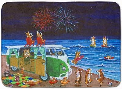 "Caroline's Treasures Corgi Beach Party Volkswagon Fireworks Floor Mat, 7317RUG, Multicolor, 19"" x 27"""