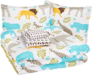 AmazonBasics Kid's Bed-in-a-Bag - Soft, Easy-Wash Microfiber - Full/Queen, Multi-Color Zoo Animals