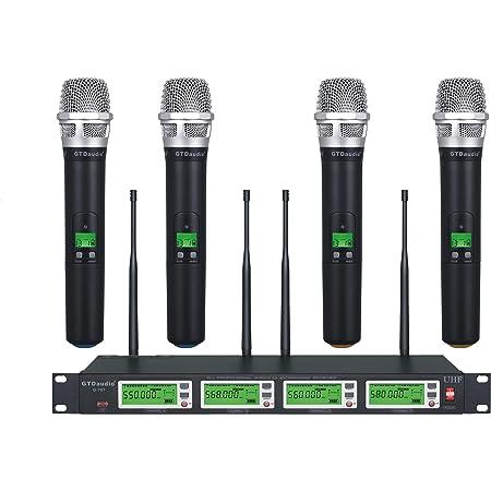 GTD Audio 4x800 Adjustable Channels UHF Diversity Wireless Cordless Handheld Microphone Mic System Ideal for Church, Karaoke, Dj Party, Range 450ft (4 Handheld Mics)