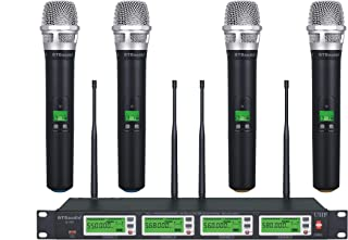 GTD Audio 4x800 Selectable Frequency Channel UHF Diversity Wireless Handheld Microphone Mic System 787 (4 Hand held Mics)