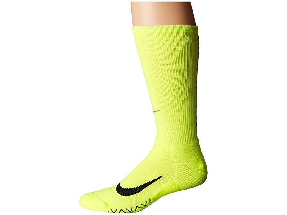 Nike Elite Running Cushion Crew Socks (Volt/Black) Crew Cut Socks Shoes