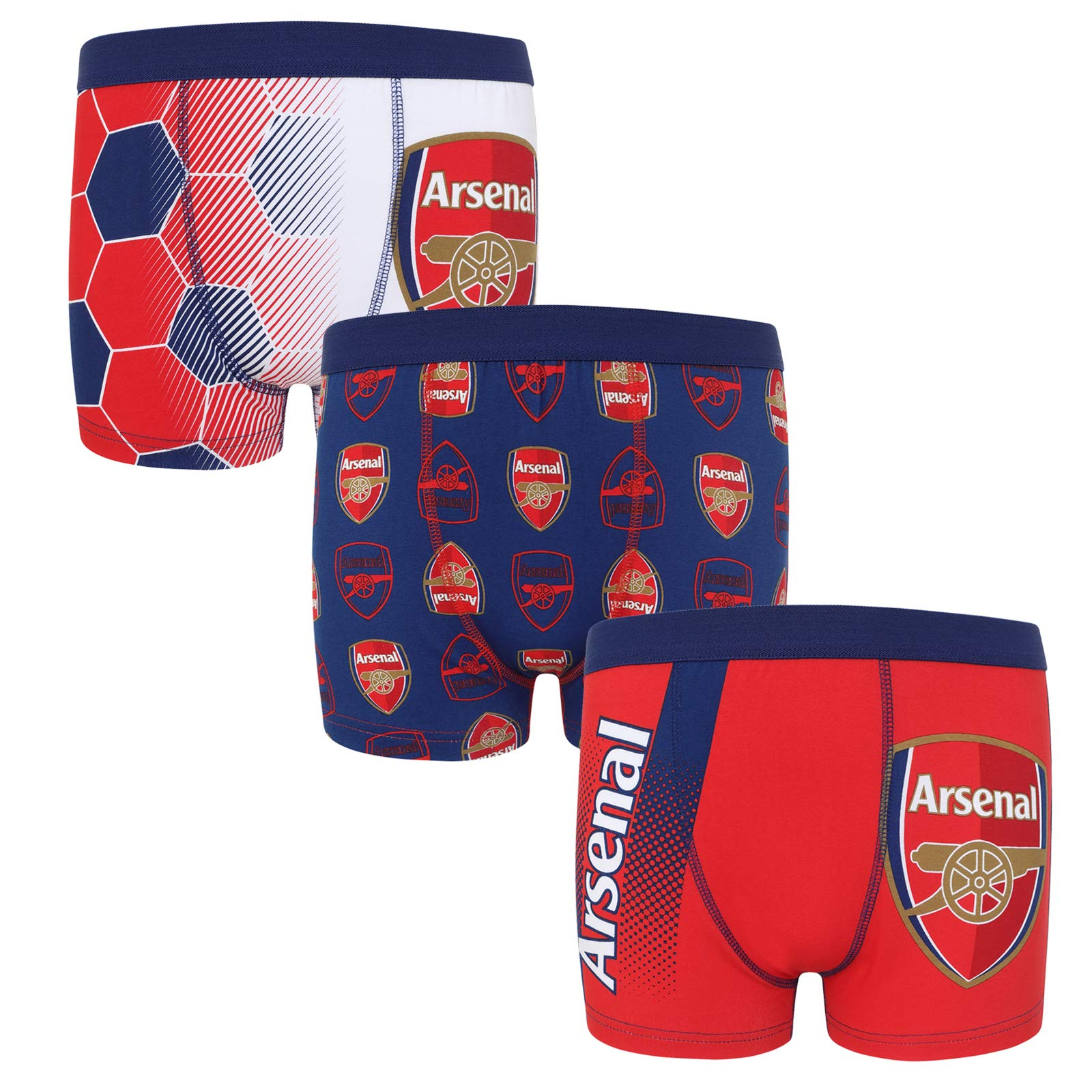 Arsenal FC Official Football Gift 3 Pack Boys Crest Boxer Shorts