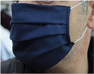 10 Mascherine artigianali in doppio strato di puro cotone oxford eleganti di colore blu con tasca per inserimento ulterior...