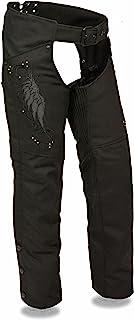 Milwaukee Leather Women`s Textile Chap w/ Wing & Rivet Detailing (Black, XS)