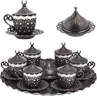 Alisveristime 27 Pc Turkish Greek Arabic Coffee Espresso Cup Saucer Set (Gelincik) Black