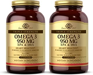 Solgar Triple Strength Omega-3 950 mg, 100 Softgels - 2 Pack - Supports Cardiovascular, Joint, Skin & Heart Health - Essen...