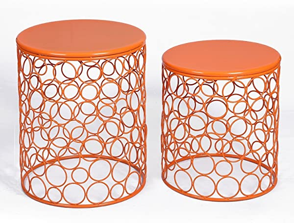 Adeco Home Garden Accents Circle Wired Round Iron Metal Nesting Stool Side End Table Plant Stand Bubble Pattern Orange Red Set Of Two