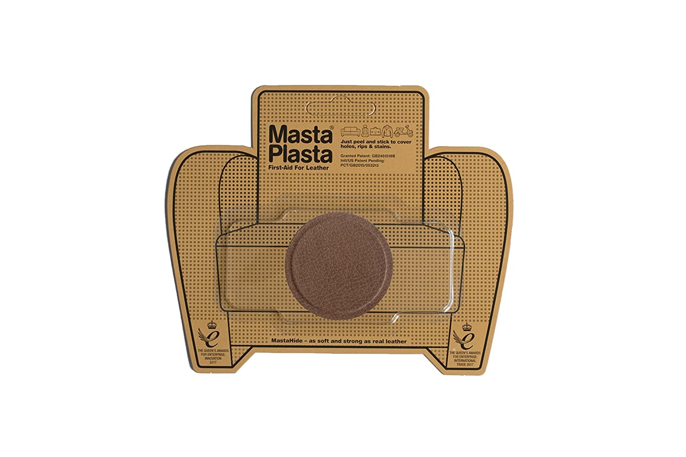 MastaPlasta Self-Adhesive Patch for Leather and Vinyl Repair, Small Circle, Tan - 2 Inch Diameter - Multiple Colors Available