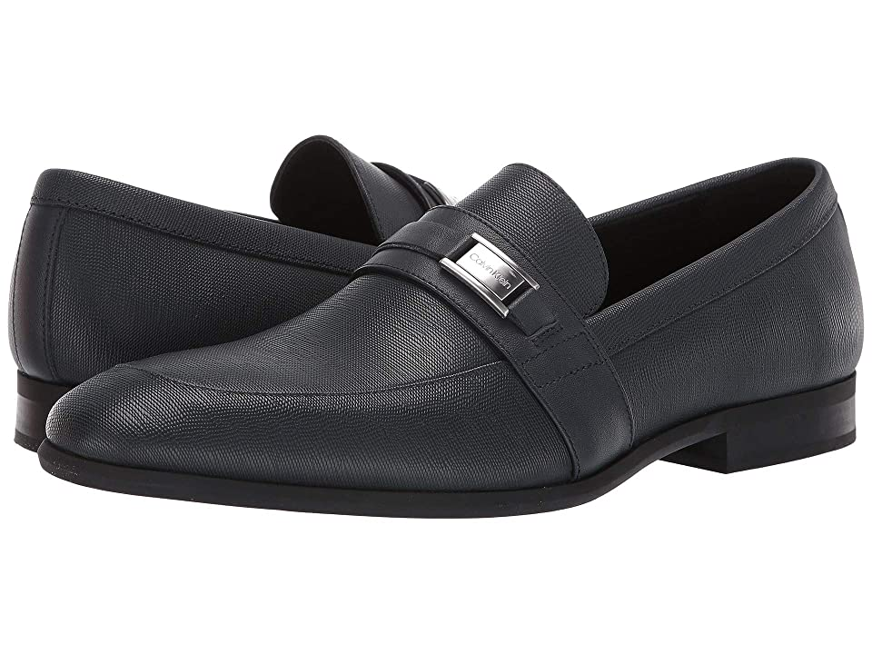 Calvin Klein Lonnie (Dark Navy Hatched Embossed Leather) Men