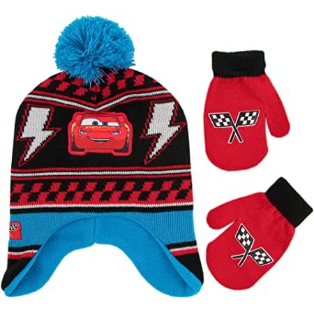 Hat and Gloves Or Mitten Set for Toddler and Little Boys Disney Cars Lightning McQueen Scarf
