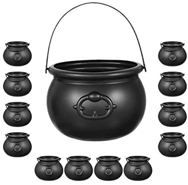 Halloween Black Cauldron Set Plastic | 12 Mini Cauldrons & 1 Large 8 inch | Plastic Candy Kettle, Cast Iron Look - For Halloween, Trick or Treat, Party Favors, Harry Potter, Witch Cauldron By 4E's Novelty