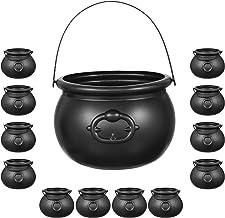 Halloween Black Cauldron Set Plastic | 12 Mini Cauldrons & 1 Large 8 inch | Plastic Candy Kettle, Cast Iron Look - For Hal...