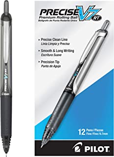 PILOT Precise V7 RT Refillable & Retractable Liquid Ink Rolling Ball Pens, Fine Point, Black Ink, 12 Count (26067)