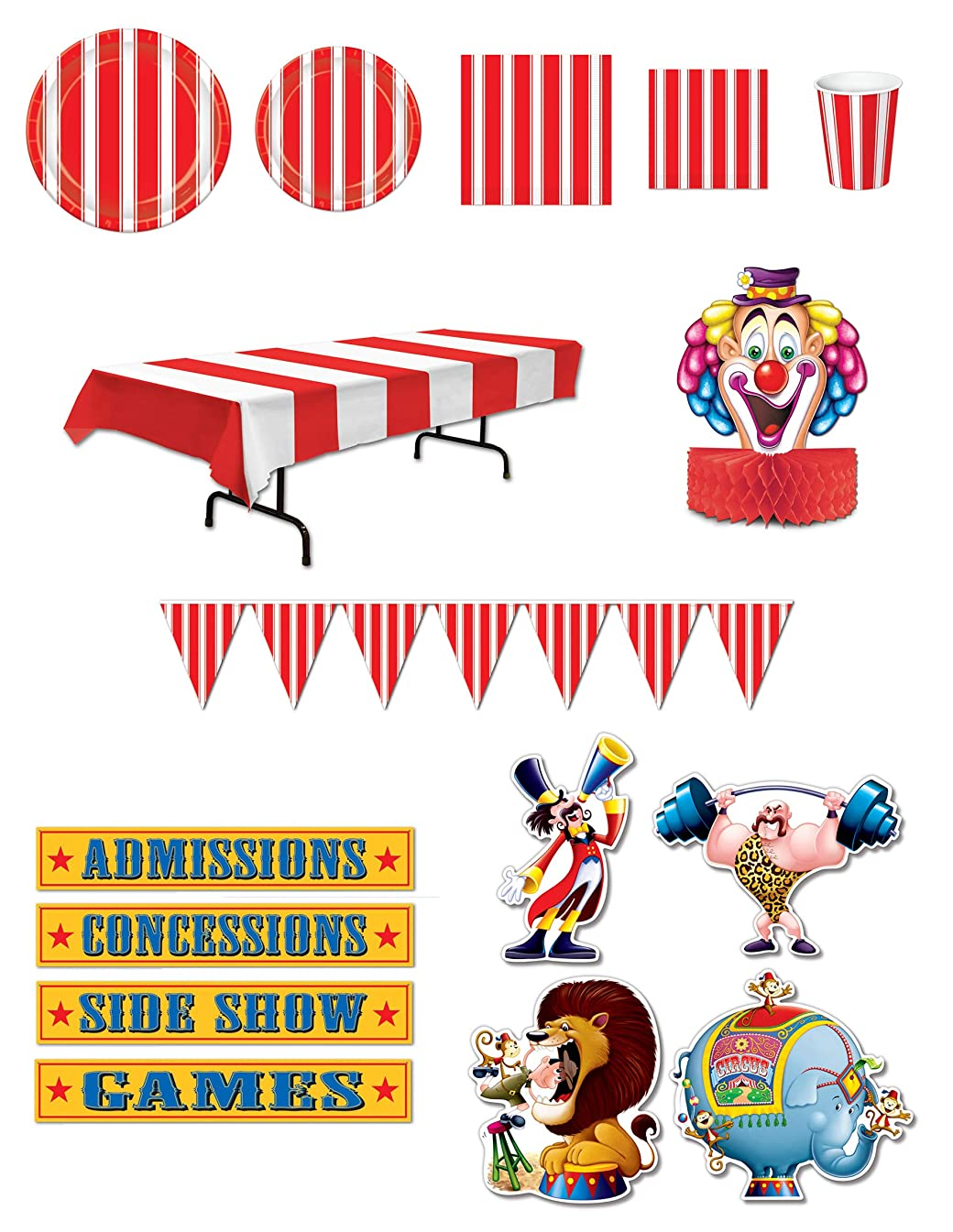 Beistle S23AZA Circus Decoration Assortment, Multicolor