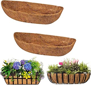 Wall-Mounted Coco Liner Trough,24//30//36//48 inch Half Moon Shape Coir Coconut Fiber Replacement Liner Plant Basket for Wall Hanging Baskets Flower Pot Window Box Decoration 24inch