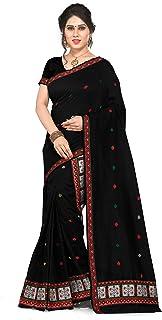 S Kiran's Women's Cotton Saree Plain weave with Blouse and Unstitched Mekhela Chador ( Black)