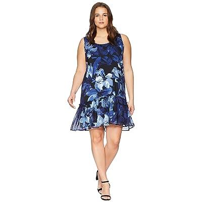 Karen Kane Plus Plus Size Ruffle Hem Dress (Print) Women