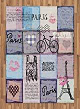 ABAKUHAUS París Alfombra de Área, Collage Retro Desgastado Texturado de París Objeto Famoso Torre Eiffel Tema Europa, Ideal para Sala de Estar o Comedor Resistente a Manchas, 160 x 230 cm, Multicolor