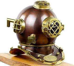 Nagina International Scuba Diving Nautical Helmet   Maritime Ship's Decorative Helmet (18 Inches, Scutter Brown)